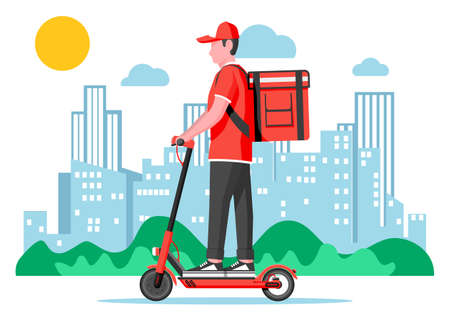 Delivery man riding kick scooter with the box. Concept of fast delivery in the city. Male courier with parcel box on his back with goods and products. Cityscape background. Flat vector illustration Çizim