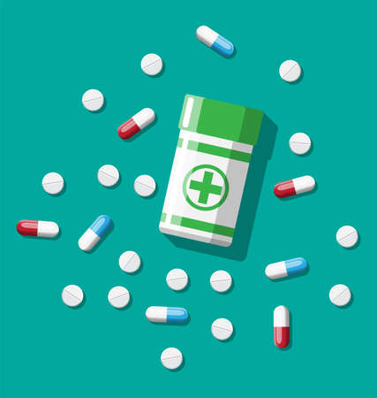 Medicine collection. Bottle, tablets, pills, capsules for illness and pain treatment. Medical drug, vitamin, antibiotic. Healthcare and pharmacy. Vector illustration in flat style