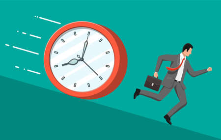 Businessman is running from big clock. Business man rushing hurry to get on time. Overwork, deadline, savings, bank deposit, future income, money benefit. Time is money. Flat vector illustration