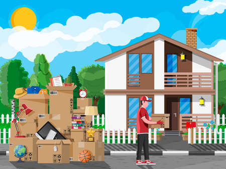 Moving to new house. Family relocated to new home. Male mover, paper cardboard boxes near house facade. Package for transportation. Computer, lamp, clothes, books. Vector illustration in flat style