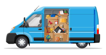 Delivery van with open door and home stuff inside. Moving to new house. Family relocated to new home. Boxes with goods. Package transportation. Computer, lamp, clothes, books. Flat vector illustration Vector Illustration