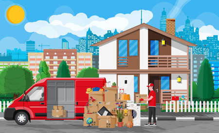 Moving to new house. Family relocated to new home. Male mover, paper cardboard boxes near house facade. Package for transportation. Delivery van full of goods. Vector illustration in flat style