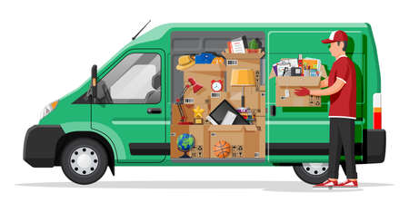 Moving to new house. Family relocated to new home. Male mover, paper cardboard boxes isolated. Package for transportation. Delivery van car, computer, lamp. Vector illustration in flat style