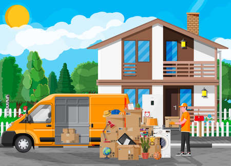 Moving to new house. Family relocated to new home. Male mover, paper cardboard boxes near house facade. Package for transportation. Delivery van full of goods. Vector illustration in flat style Ilustración de vector
