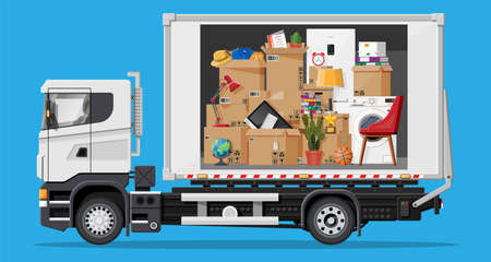 Delivery truck full of home stuff inside. Moving to new house. Family relocated to new home. Boxes with goods. Package transportation. Computer, lamp, clothes, books. Flat vector illustration