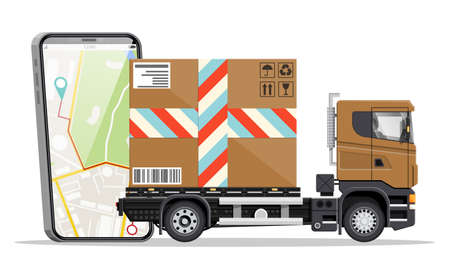 Delivery van with box and smartphone with navigation app. Express delivering services commercial truck. Concept of fast and free delivery by car. Cargo and logistic. Cartoon flat vector illustration Vector Illustratie
