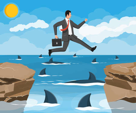 Businessman jumping over shark in water. Business man in suit with briefcase jump between gap. Obstacle on road, financial crisis. Risk management challenge. Flat vector illustration