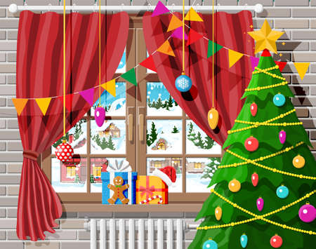 Cozy interior of room with christmas tree. Happy new year decoration. Merry christmas holiday. New year and xmas celebration. Winter landscape, snow, village. Cartoon flat vector illustration.