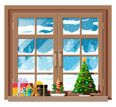 Cozy interior of room with window. Happy new year decoration. Merry christmas holiday. New year and xmas celebration. Winter landscape, tree, snow, village. Cartoon flat vector illustration.