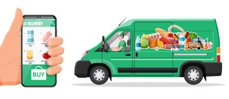 Delivery van full of food and smartphone. Concept of fast grocery delivery service. Supermarket, cafe, restaurant. Groceries products, bread, meat milk fruit vegetable drinks. Flat vector illustration