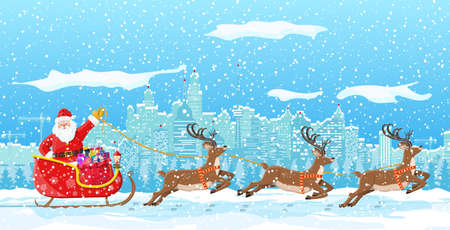 Santa claus rides reindeer sleigh. Christmas winter cityscape, snowflakes and trees. Happy new year decoration. Merry christmas holiday. New year and xmas celebration. Vector illustration flat style Stock fotó - 156384115