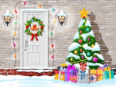 Christmas door decoration. Entrance to suburban house decorated with wreath, bells, garland lights. Holiday greetings. Snowflakes, gift boxes. New year and xmas celebration. Flat vector illustration Vektoros illusztráció