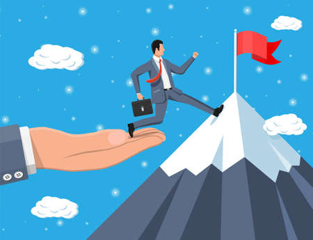 Businessman on chart ladder is fast running with waving necktie and briefcase. Goal setting. Smart goal. Business target concept. Achievement and success. Vector illustration in flat style