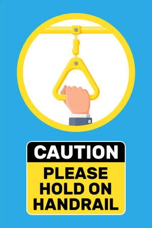 Hand holding the handrail in transport. Handles for safety transportations of passengers in bus, metro, train. Straight yellow handle and hand isolated on white. Cartoon flat vector illustration