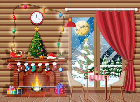 Christmas interior of room with tree, window, gifts and decorated fireplace. Happy new year decoration. Merry christmas holiday. New year and xmas celebration. Vector illustration flat style Vektorgrafik