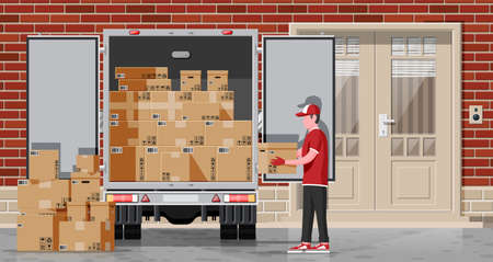 Loader unloads the goods from truck. Fast and free delivery service in city. Courier with parcel box. Male mover, paper cardboard boxes with goods. Cargo and logistic. Cartoon flat vector illustration Vecteurs