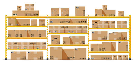 Metallic shelves with carton brown boxes. Goods and container package. Pile cardboard boxes set. Delivery packaging open and closed box with fragile signs. Vector illustration in flat style