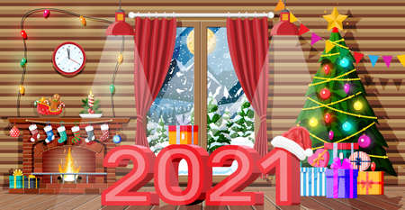 Christmas interior of room with tree, window, gifts and decorated fireplace. Happy new year decoration. Merry christmas holiday. New year and xmas celebration. Vector illustration flat style Ilustração Vetorial