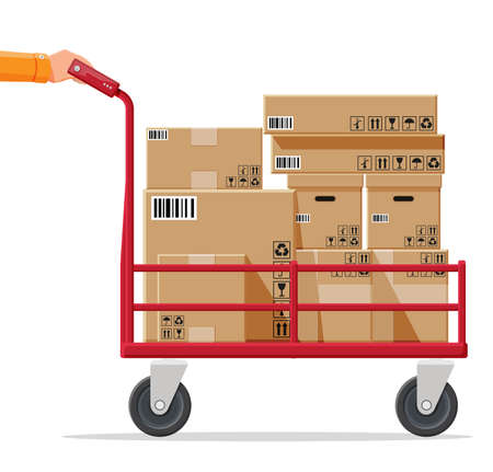 Barrow full of boxes isolated on white. Metallic wheeled trolley with cardboard box. Delivery service and logistics. Hand truck dolly icon. Transportation warehouse. Cartoon flat vector illustration Vektorové ilustrace