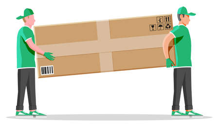 Two workers mover man holding and carrying cardboard box. Courier character holds parcel in hands. Carton delivery packaging box with fragile signs. Free and fast shipping. Flat vector illustration