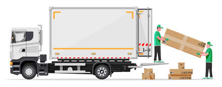Truck trailer loaded with cardboard boxes by movers. Delivery van with pile of boxes. Express delivering services commercial truck. Fast and free delivery. Cargo logistic. Flat vector illustration