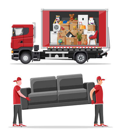 Delivery van full of home stuff inside and movers. Moving to new house. Family relocated to new home. Boxes with goods. Package transportation. Computer, lamp, clothes, books. Flat vector illustration