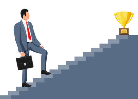 Businessman and gold trophy on ladder of success. Award, victory, goal, champion achievement. Business success, triumph, goal. Growth in career. Winning of competition. Vector illustration flat style