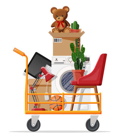 Hand truck and package for transportation. Moving to new house. Family relocated to new home. Paper cardboard boxes with various household thing. Vector illustration in flat style