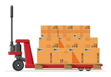 Hand pallet truck with cardboard box isolated on white. Pallet jack full of carton boxes. Delivery packaging closed container with fragile signs. Vector illustration in flat style