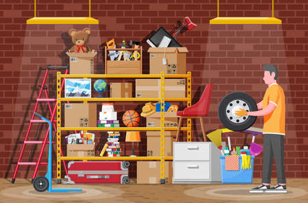 Storeroom or house cellar interior. Modern storage room. Metal shelves with household items. Rack full of cardboard boxes, stair, cleaning accessories and furniture. Flat vector illustration Vetores