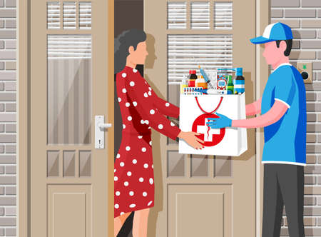 Courier delivered package of drugs to customer. Pharmacy delivery service concept. Delivery man give ordered medical products to woman. Online drugstore or internet shop. Flat vector illustration Ilustración de vector