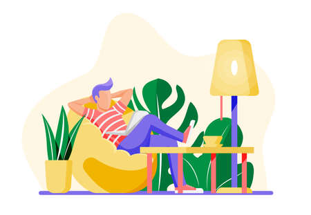 Freelancer man with laptop in beanbag chair. Relaxed freelance businessman work at home. Character in casual clothes sitting with computer. Lamp and plant. Cartoon flat style vector