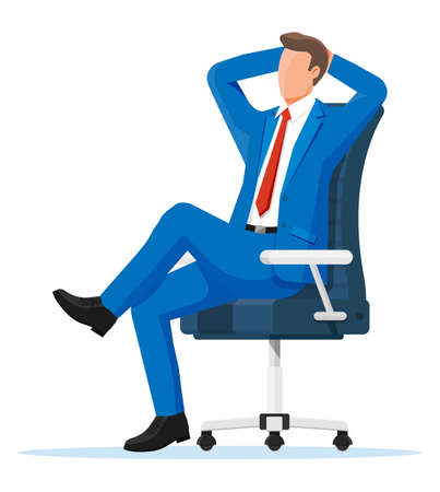 Businessman relaxing in wheelchair. Man character sleep in chair. Boss resting in calm pose. Business man sitting calmly on casters chair legs crossed hands behind head. Flat vector illustration