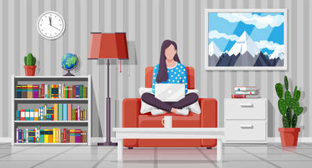 Interior of modern living room. Freelancer on sofa working at home with laptop. Woman chilling on armchair. Hipster character in jeans and t-shirt. Lamp, library, plant. Flat vector illustration Illustration