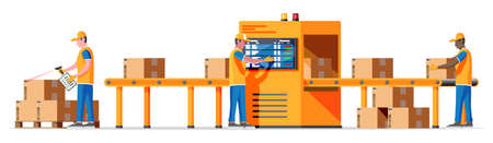 Conveyor belt machine concept isolated on white. Modern factory equipment. Warehouse process service. Package X-ray baggage. Security, logistic and delivery. Cartoon flat vector illustration