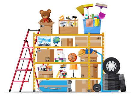 Storeroom or house cellar interior. Modern storage room. Metal shelves with household items. Rack full of cardboard boxes, stair, cleaning accessories and furniture. Flat vector illustration Vektorgrafik