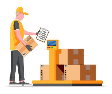 Warehouse worker is weighing the cargo. Industrial goods weight scales. Logistic and distribution, parcel package, cardboard boxes. Scale with box isolated on white. Flat vector illustration Vector Illustration