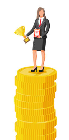 Businesswoman holding trophy, showing award certificate celebrates victory. Stacks of golden coins. Business success triumph goal achievement. Winning of competition. Flat vector illustration