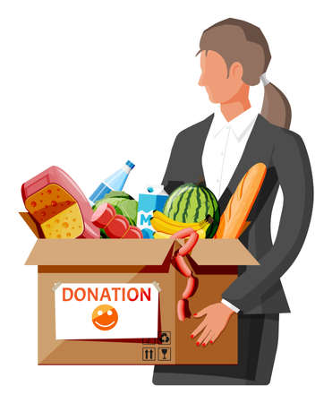 Woman holding cardboard box full of food. Needed items for donation. Water, bread, meat, milk, fruits and vegetables products. Food drive bank, charity, thanksgiving concept. Flat vector illustration