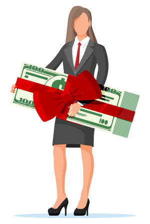 Successful businesswoman celebrates victory holding dollar bundle with ribbon and bow. Business success, triumph, goal or achievement. Winning of competition. Vector illustration flat style