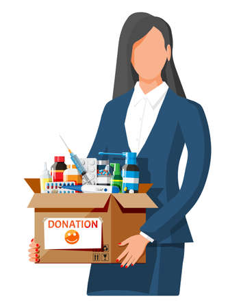 Woman and cardboard box full of drugs. Needed items for donation. Different pills bottles, healthcare, pharmacy. Medical drug vitamin antibiotic. Donate charity, thanksgiving. Flat vector illustration