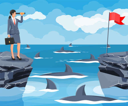 Businesswoman with spyglass on tiny island in sea and surrounded by sharks. Obstacle on work, financial crisis. Risk management. Success, achievement, vision career goal. Flat vector illustration
