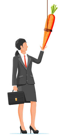 Carrot on a stick and businesswoman. Motivation, stimulus, incentive and reaching goal concept metaphor. Fishing wooden stick with hanging carrot