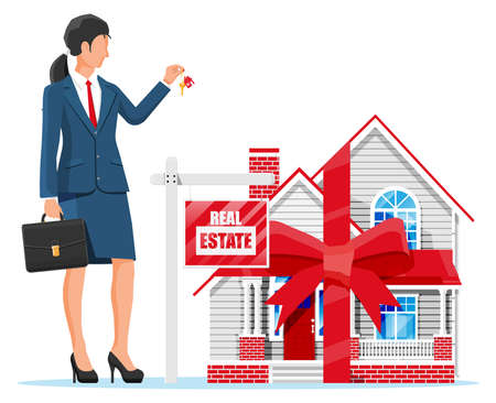 Suburban house, businesswoman or realtor holding key. Wooden placard with real estate sign. Mortgage, property and investment. Buy sell or rent realty. Flat vector illustration