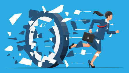 Businesswoman running and breaking target. Business woman in suit with briefcase. Goal setting. Smart goal. Business target concept. Achievement and success. Vector illustration in flat style