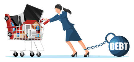 Woman with debt weight pulling shopping cart
