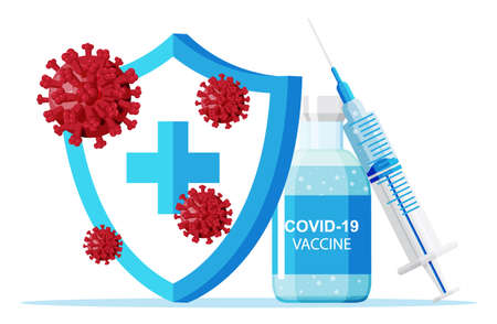 Vaccination against coronavirus. Time to vaccinate Vector Illustration