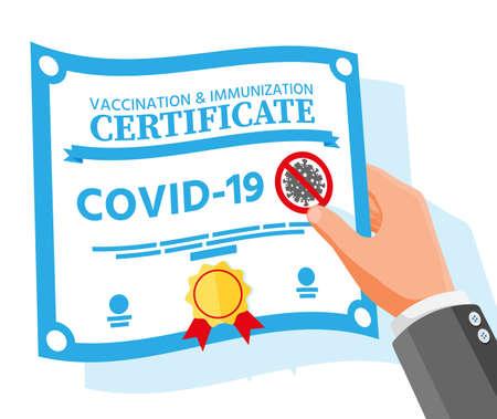 Covid-19 vaccination passport in hand.
