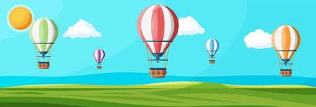 Hot air balloon in the sky with clouds and sun