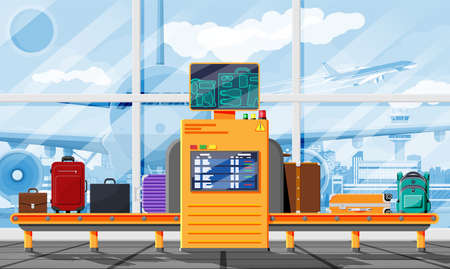 Airport Security Scanner. Conveyor With Luggage Векторная Иллюстрация